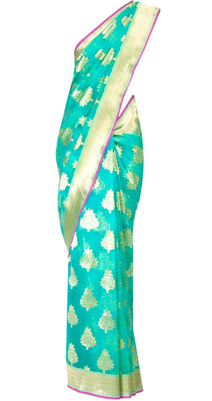 Sea Green sari with flower motif by EKAYA. Shop at http://www.perniaspopupshop.com/whats-new/ekaya-20