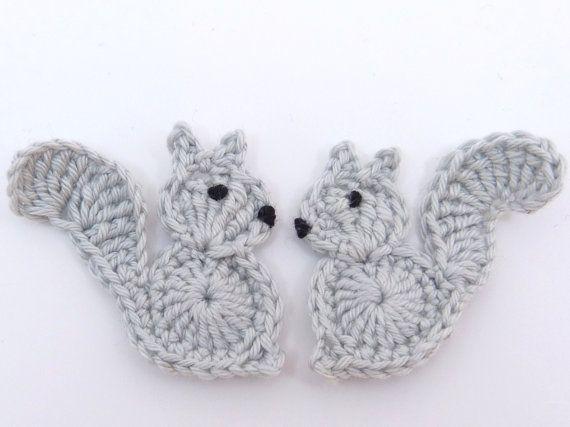 Crochet applique, 4 small grey and rust crochet squirrels, cards, scrapbooks…