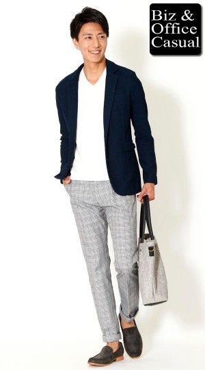 ネイビーカットジャケット×無地カットソー×グレンチェックパンツ biz15ss_3155【ビジネスカジュアル・オフィスカジュアルコーディネート~会社に着ていく私服・通勤服~】 - メンズビジネスカジュアル(ビジカジ)通販