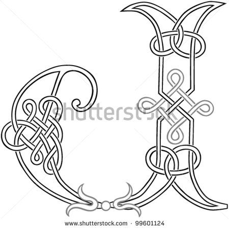 A Celtic Knot-work Capital Letter J Stylized Outline. Vector Version.