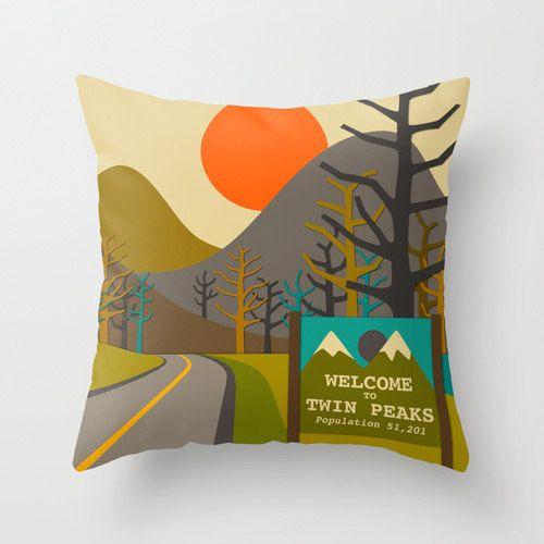 Decorative Pillow Cover 16x16 TWIN PEAKS throw by JazzberryBlue, $28.00