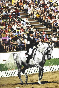 Elisabeth Theurer (Aut) and Mon Cherie, in the process of their gold-medal performance at the 1980 Olympics