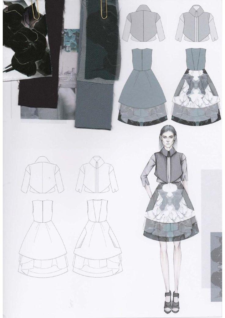 Fashion Sketchbook - printed dress design illustrations & fabric swatches; fashion portfolio // Emily-Mei Cross