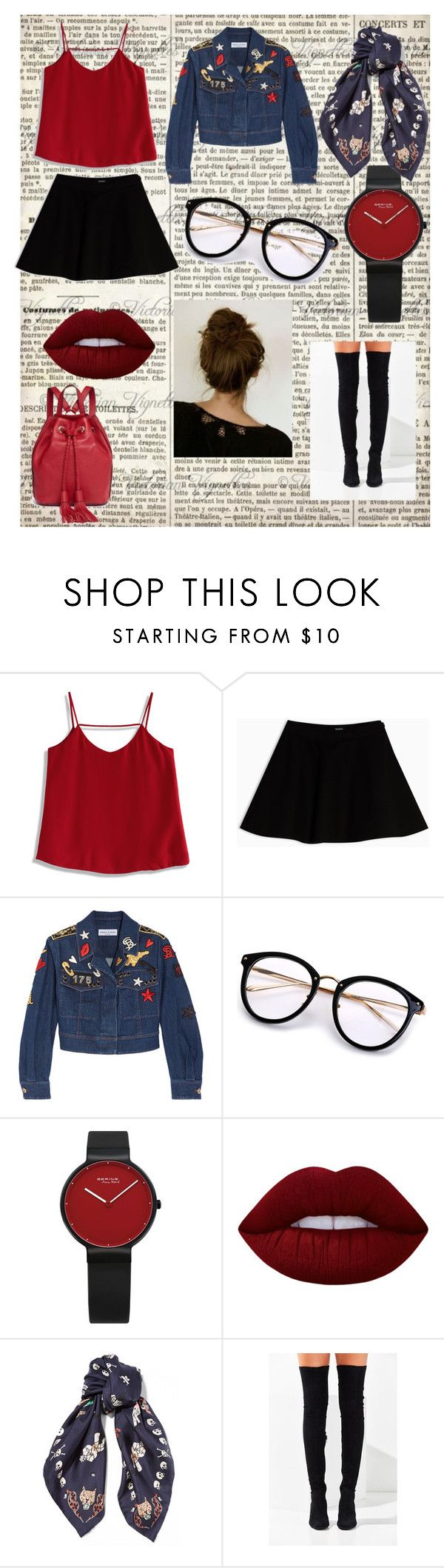 """F"" by tiyati on Polyvore featuring Chicwish, Max&Co., Sonia Rykiel, Lime Crime, Alexander McQueen, Jeffrey Campbell, Rebecca Minkoff, black, red and scarf"