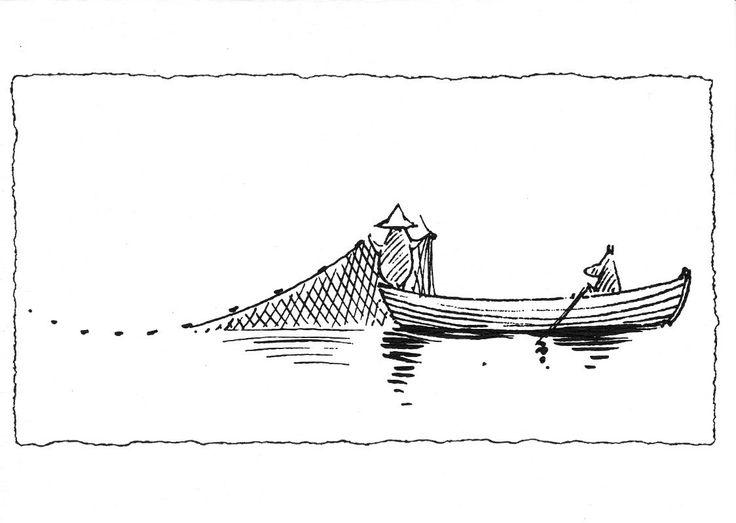 Moominpappa and Moomin are fishing