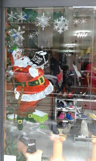Vetrine natalizie dipinte Babbo Natale