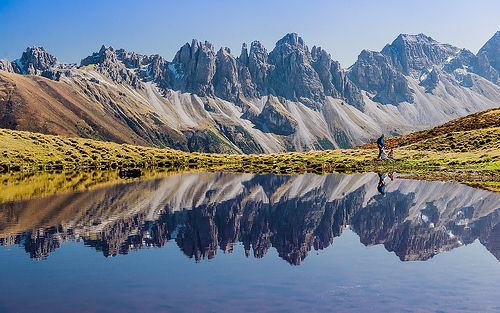Hiking in the alps at Lake Salfeinssee, Austria