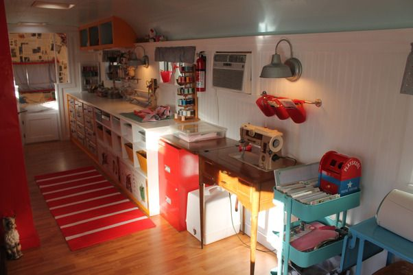 1960 Streamline travel trailer turned stationary CRAFT STUDIO!, Work space for sewing, cutting, etc.
