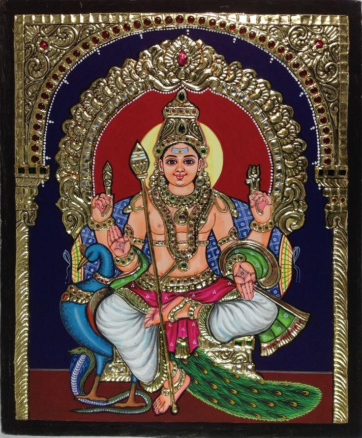 Tanjore Kartikeya Murugan Painting