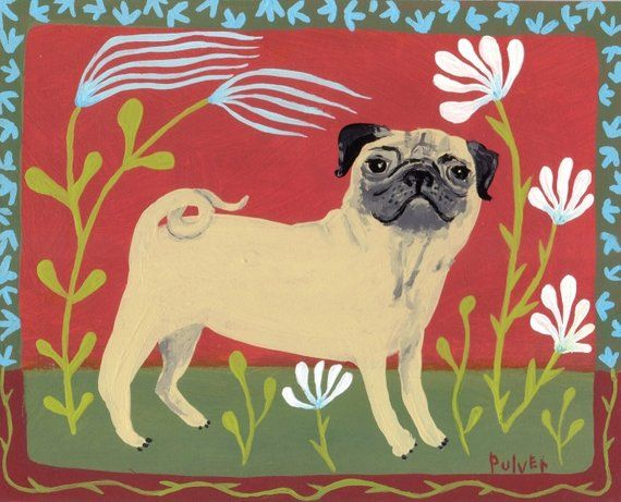 Pug Aceo Art Trading Card Mini Print Folk Art Animal Card Art