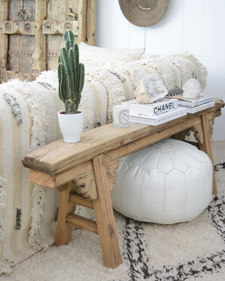 @apartmentf15 -- chinese altar table/bench, moroccan pouf, moroccan beni ourain rug, moroccan…
