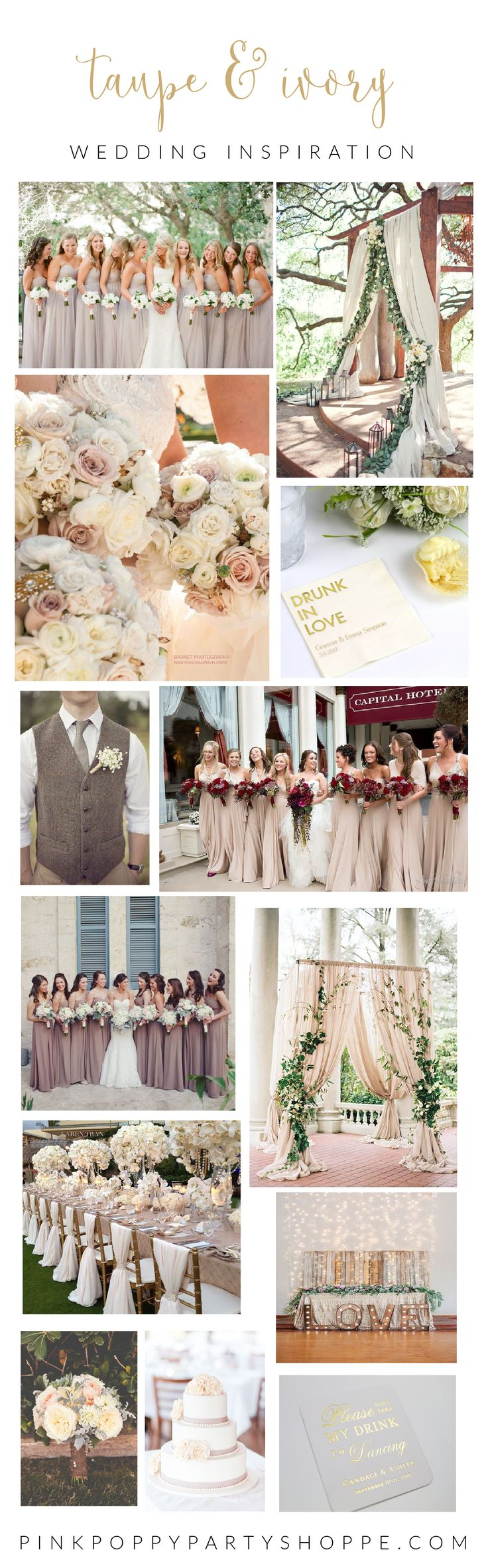 Taupe & Ivory Wedding Decor Inspiration | Party with Pink Poppy Blog