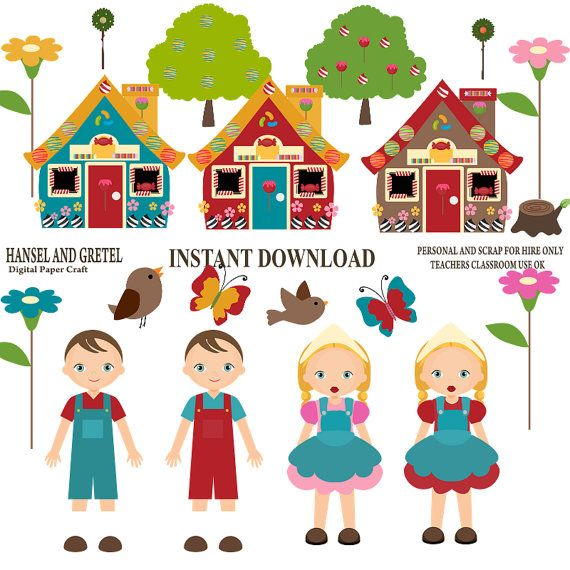 Hansel and Gretel Clipart  INSTANT DOWNLOAD -Commercial and Personal Use