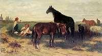 Józef Brandt. Na pastwisku.  1869. Olej na płótnie.  Braith-Mali Museum, Biberbach.