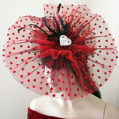 Burlesque Red & Black Heart Pinwheel Fascinator Hat with Diamantes Melbourne Cup by Missie77art Jewellery on ebay
