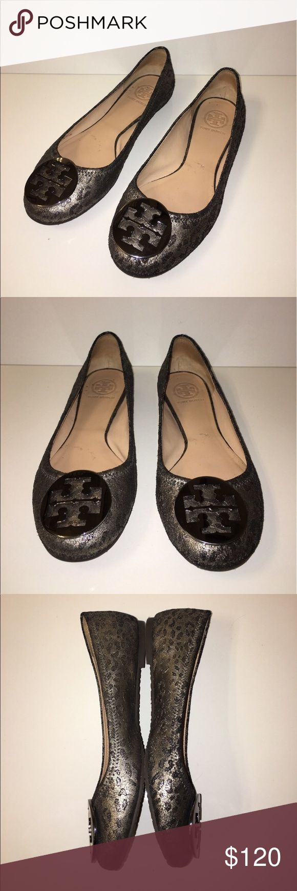Tory Burch Reva Metallic Leopard Ballet Flats Tory Burch Reva Metallic Leopard Ballet Flats. Great condition! Tory Burch Shoes Flats & Loafers