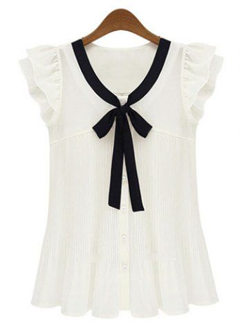 Fashionable Bow Collar Pleated Chiffon Butterfly Sleeve Women's Blouse