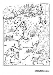Kleurplaat: sneeuwpop, kleuteridee, snowman coloring, kleuteridee, free printable