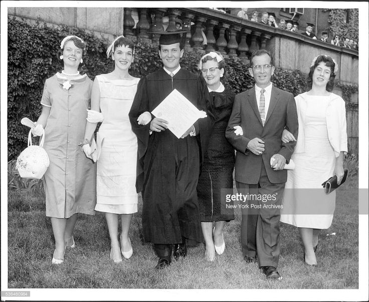 Pat Boone at Columbia -- Stepping out after receiving his Bachelor of Science degree diploma, Pat Boone and family. Left to right his sister Margie,(Mrs. Edward Jencks),his wife Shirley, Pat Boone with diploma, his mother Margaret, and his father Archie, also his kid sister Judy, 15 yrs He graduated with his class Tuesday from Columbia University. June 04, 1958. (Photo by William N. Jacobellis/New York Post Archives / (c) NYP Holdings, Inc. via Getty Images)