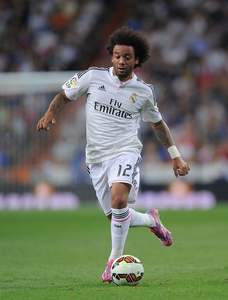 Marcelo of Real Madrid in action during the La liga match between Real Madrid CF and Cordoba CF at Estadio Santiago Bernabeu on August 25, 2014 in Madrid, Spain.