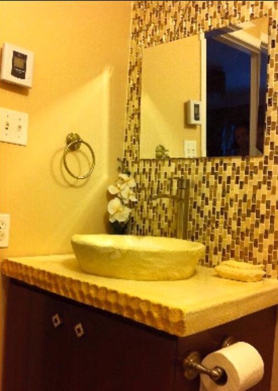 Hand made stone vessel sink and countertop bathroom sink, faucet