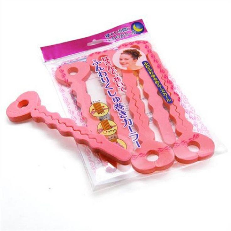 ホット販売ファッション 6 ピース ピンク柔らかい髪カーラー スポンジ スパイラル カール ローラー diy サロン ツール