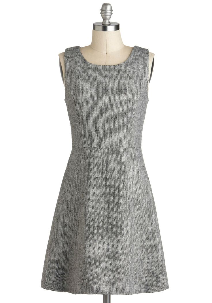 Office Fête Dress - Mid-length, Grey, Herringbone, Work, A-line, Sleeveless, Minimal