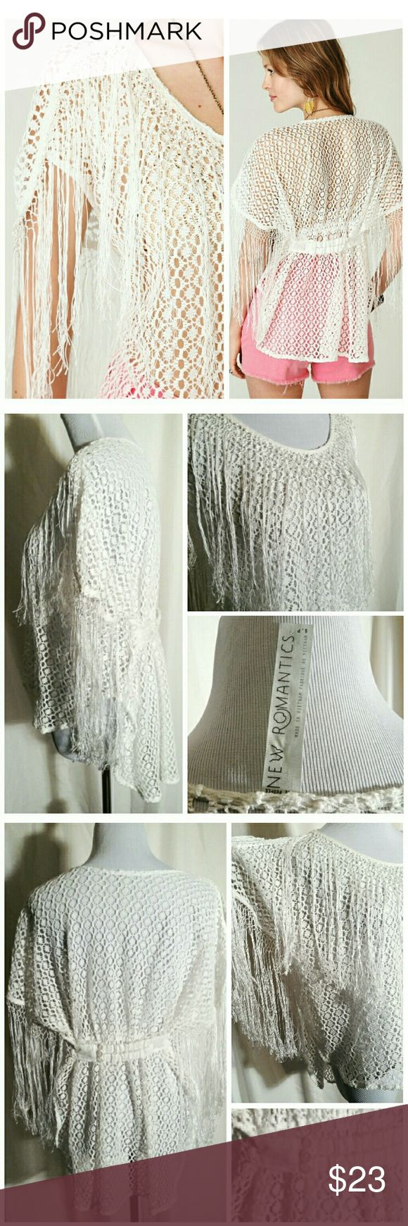 """Free People New Romantics Fringe Blouse 20% Bundle This off-white, hi-lo, fringe sleeve blouse from FP is in very good condition. The fringes have frayed at the bottom which makes it even more books chic!  It is made of 75% polyester & 25% cotton and is machine washable. It measures about 19"""" across everywhere.  🛍 Bundle and Save More!!! Free People Tops Blouses"""