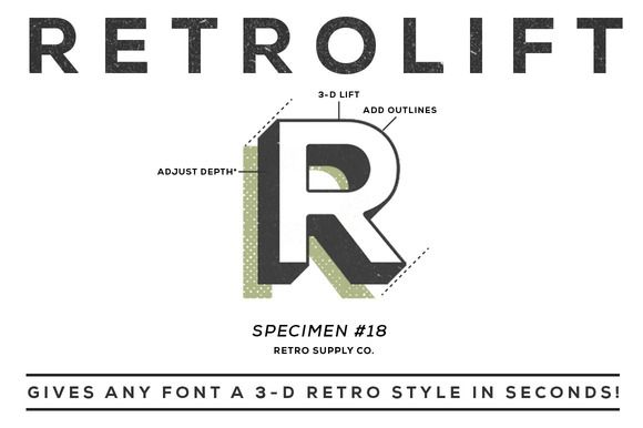 Gives any font a 3-D retro style in seconds! AWESOME!! Totally bought it. | PS Action by Retro Supply at Creative Market