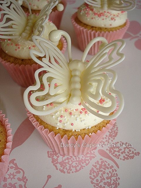 White chocolate butterfly detail on cupcake