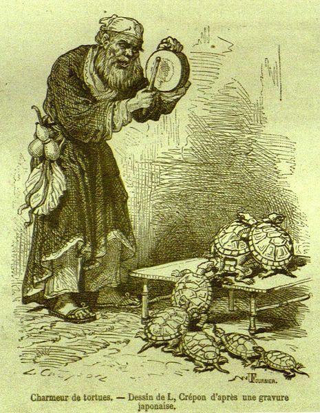 1869'da Tour du Monde isimli dergide yayınlanan Charmeur de tortues isimli gravür, Kaplumbağa Terbiyecisi'nin esin kaynağı olabilir.: