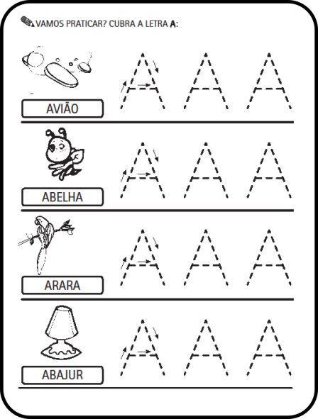 Atividades alfabeto ilustrado com desenhos de animais e objetos       Letra A       Letra B       Letra C       Letra D       Letra E     ...