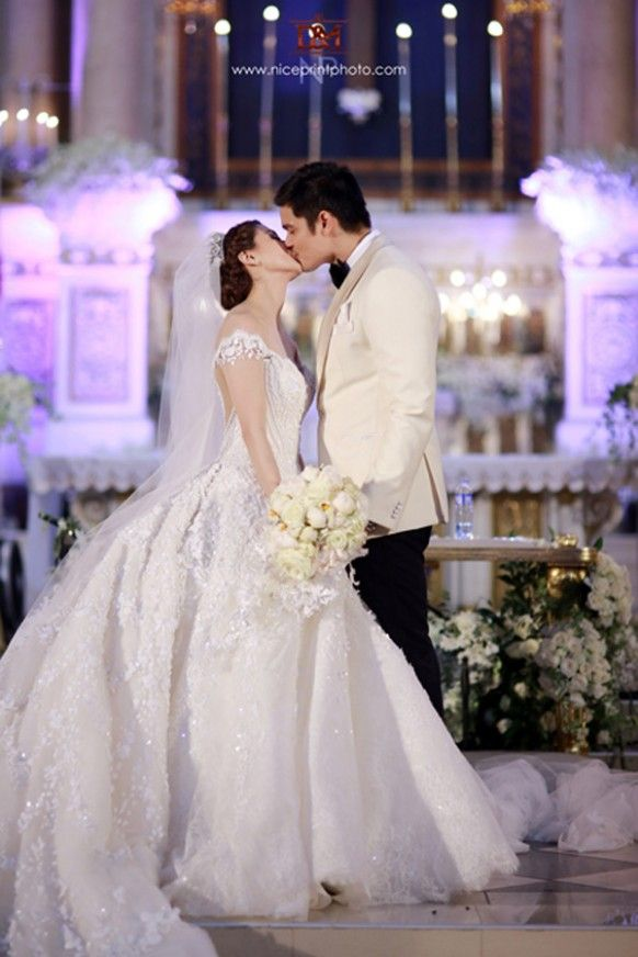 Wedding Hairstyle Of Marian Rivera In 2020 Pink Wedding Dresses Wedding Dresses Vintage Beautiful Wedding Dresses