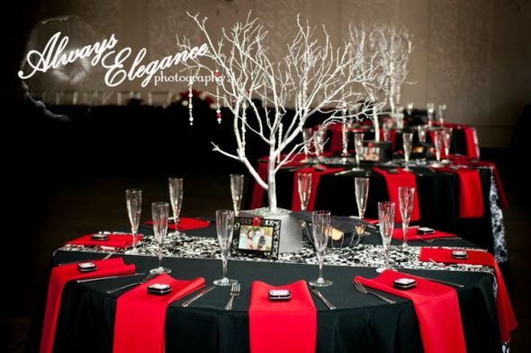 GOLD Wishing tree and pictures for centerpiece..  silver table clothes, red jewels coming off the tree