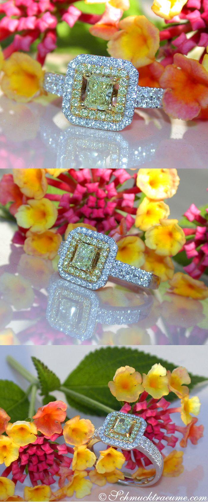 Picture Perfect Fancy Yellow & White Diamond Ring, 0.77 ct. Whitegold 18k - Like: https://www.facebook.com/Noble-Juwelen-150871984924926/