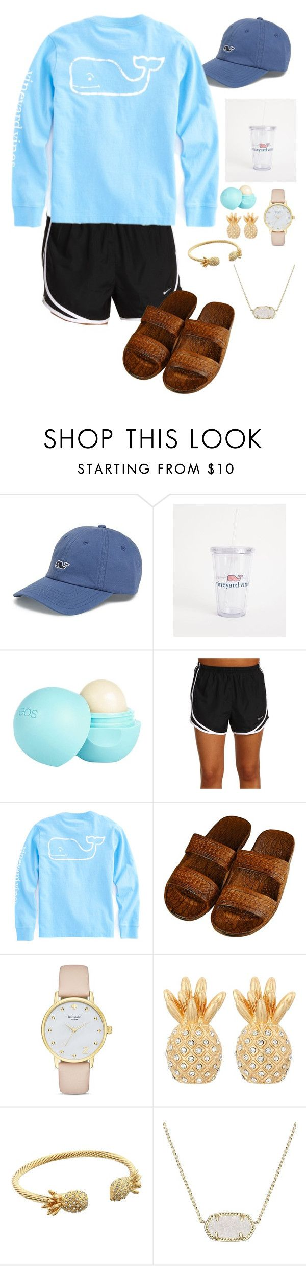 Happy Friday!//Emma by preppy-girls-with-passion ❤ liked on Polyvore featuring Vineyard Vines, River Island, NIKE, Kate Spade, Lilly Pulitzer and Kendra Scott