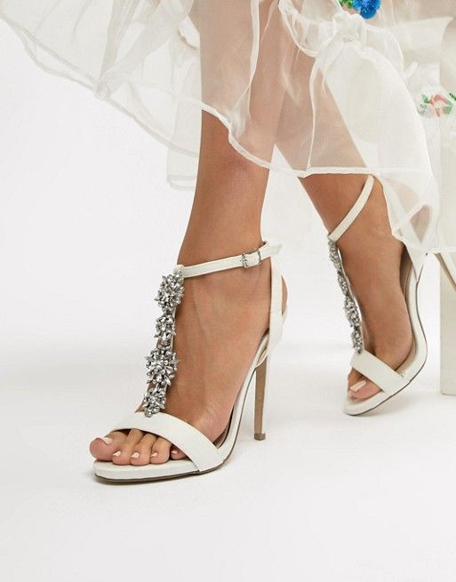 00393711f6d8dd New Look Satin Embellished Heeled Sandal in 2019