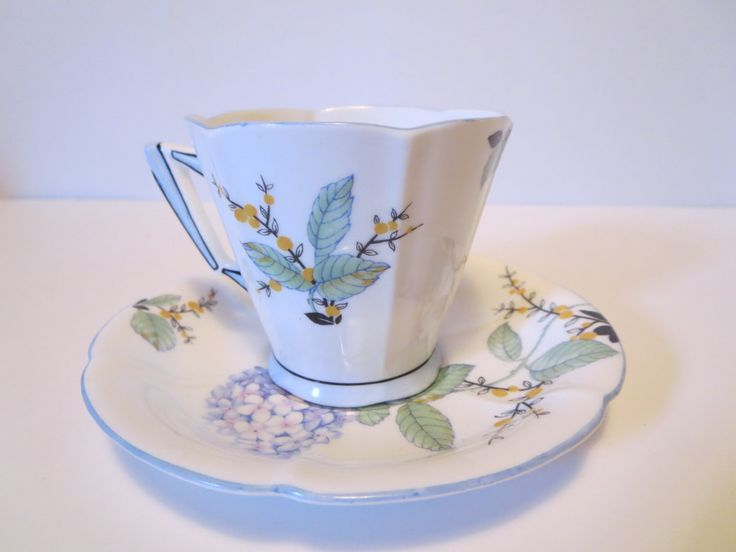 Vintage Royal Albert Crown China tea cup & saucer / Royal Albert Hydrangea demitasse /Royal Albert collectible cup/Art deco Royal Albert cup (44.00 USD) by LesCurieux