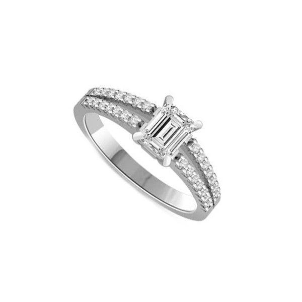 ANELLO DI FIDANZAMENTO SOLITARIO COMPOSTO CON DIAMANTE SUL GAMBO 18CT ORO BIANCO | Solitario Composto con 28 diamanti laterali. Il diamante centrale e` Taglio Smeraldo e diamanti laterali sono tutti Taglio Brillante. Il peso totale dei carati per questo anello va da 0.35ct a 0.70ct con il diamante centrale disponibile da 0.21ct a 0.56ct. Il 28 diamanti laterali sono 0.005ct ciascuno per un totale di 0.14ct.