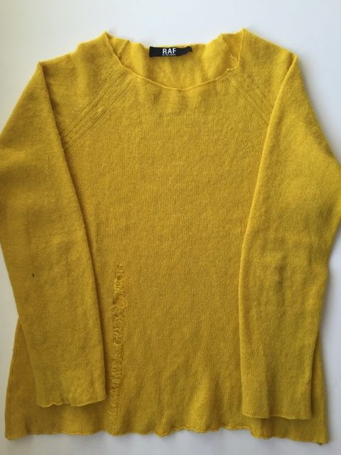 Raf Simons Raf Simons Yellow Lambswool Distressed Sweater
