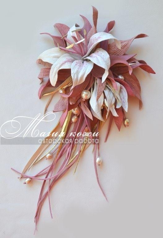 """Купить Брошь из кожи """"Жемчужная пудра"""" - розовый, пудра, жемчуг, пыльно-розовый, белые лилии"""