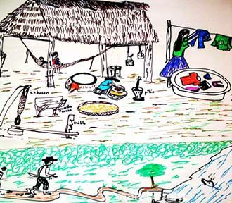 Dibujo de vida en comunidad Sikuani.  ( Vichada- Colombia) Conoce más de nuestro trabajo en Mambe.org!