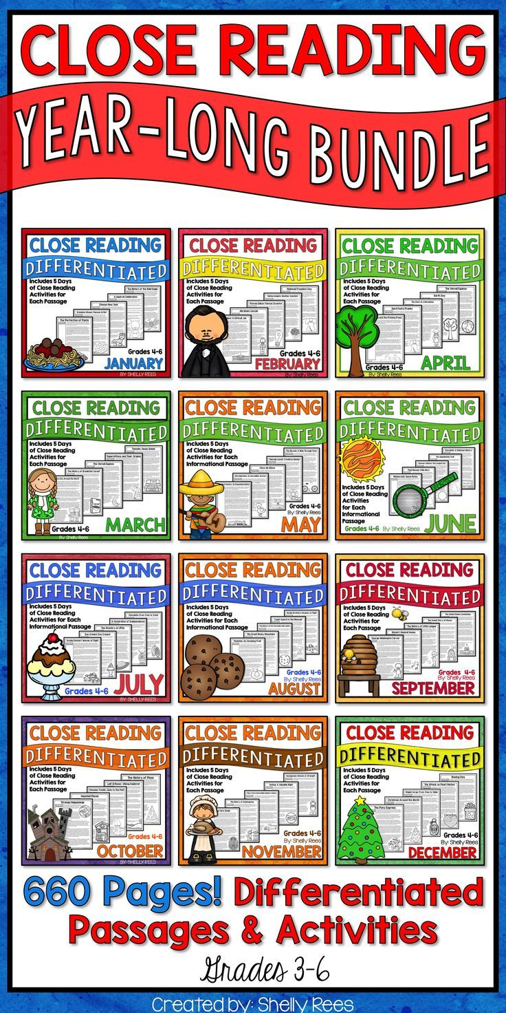 Close Reading passages, activities, and strategies are fun and engaging with Close Reading for the Year Bundle! 3rd, 4th, 5th, and 6th grade students love these high-interest nonfiction passages and writing activities. Classroom teachers love this one-stop Close Reading toolkit, especially the graphic organizers, annotation guide, and Close Reading steps guide!