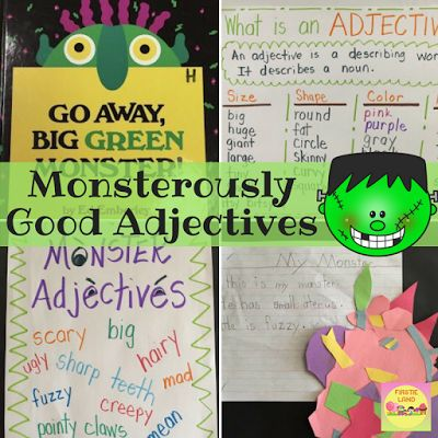 Here's a great adjective activity to do with the book Go Away Big Green Monster. It's the perfect halloween activity for your kindergarten, first grade or second grade students. Includes an adjective anchor chart, monster crafts and monster writing!