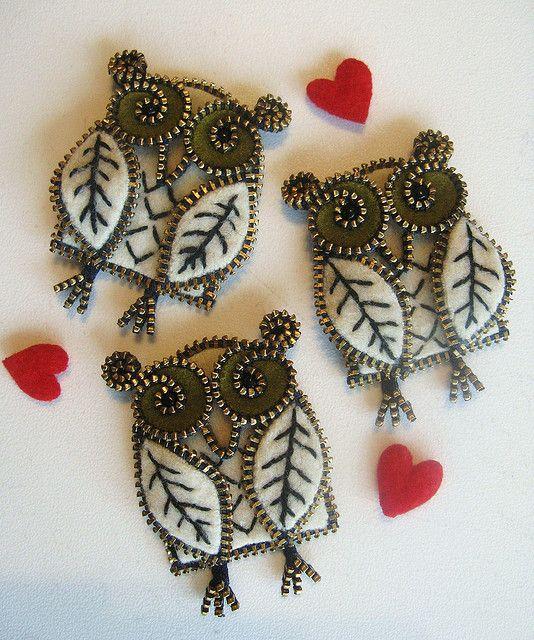 Zipper Owl Brooches