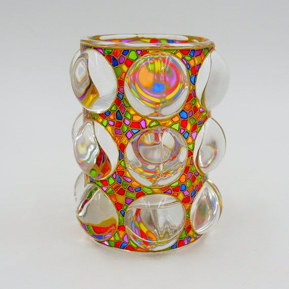 Rainbow Magic Candle Holder Gift Stained Glass Hand Painted