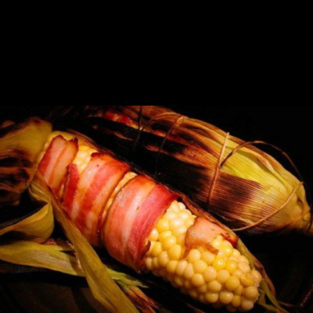 Bacon-wrapped grilled corn on the cob ....