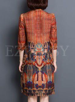 Silk Vintage Print Straight Dress