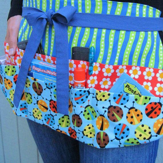 Teacher Apron -- Flower and Ladybug Utility Half Apron with Eight Pockets for Elementary, Preschool or Daycare Teachers