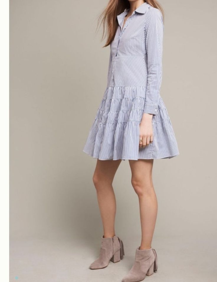 NWT $138 Anthropologie Chaumont Shirt Dress HD in Paris SP small petite FS  | eBay